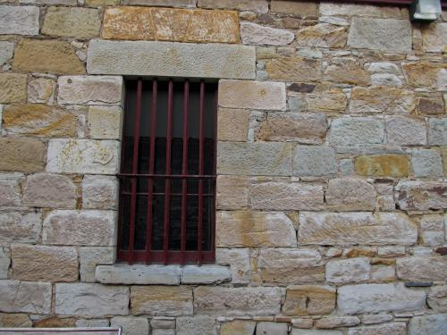 Convict window now part of Salamanca Market.