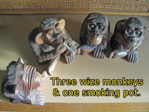 Haer no evil, speak no evil. see no evil and guess who?