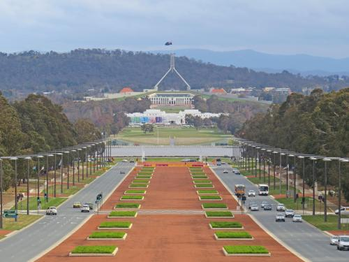 Parliament House from The Canberra War Memorial Museum.